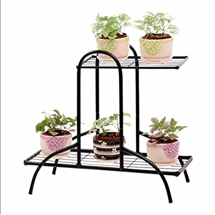 European Style Simple Mini Iron Succulent Flower Shelf Multifunctional Iron Flower Stand for Indoor Home Metal Plant Stand Patio Black Garden