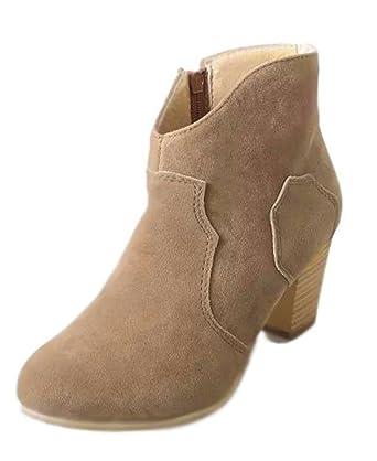 new concept 5f60d 3d426 Minetom Damen Britische Retro Chelsea Ankle Boots Kurzstiefel Elegant Hohen  Absätzen Schuhe Stiefel Reitstiefelette Gummistiefelette