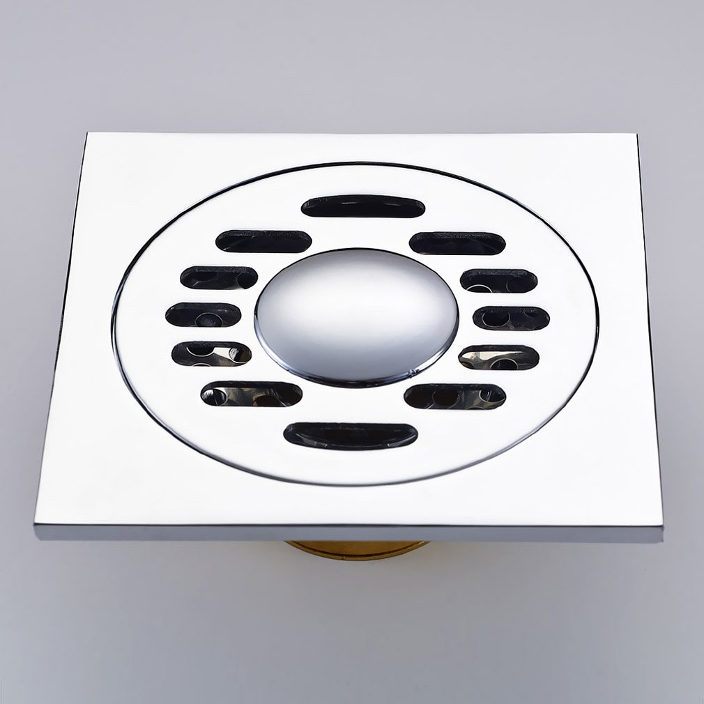 auralum floor drain bodenablauf mit edelstahl kupfer bodenabfluss dusche duschablauf flach chrom 10x10cm amazonde baumarkt - Ablaufrinne Dusche 60 Cm