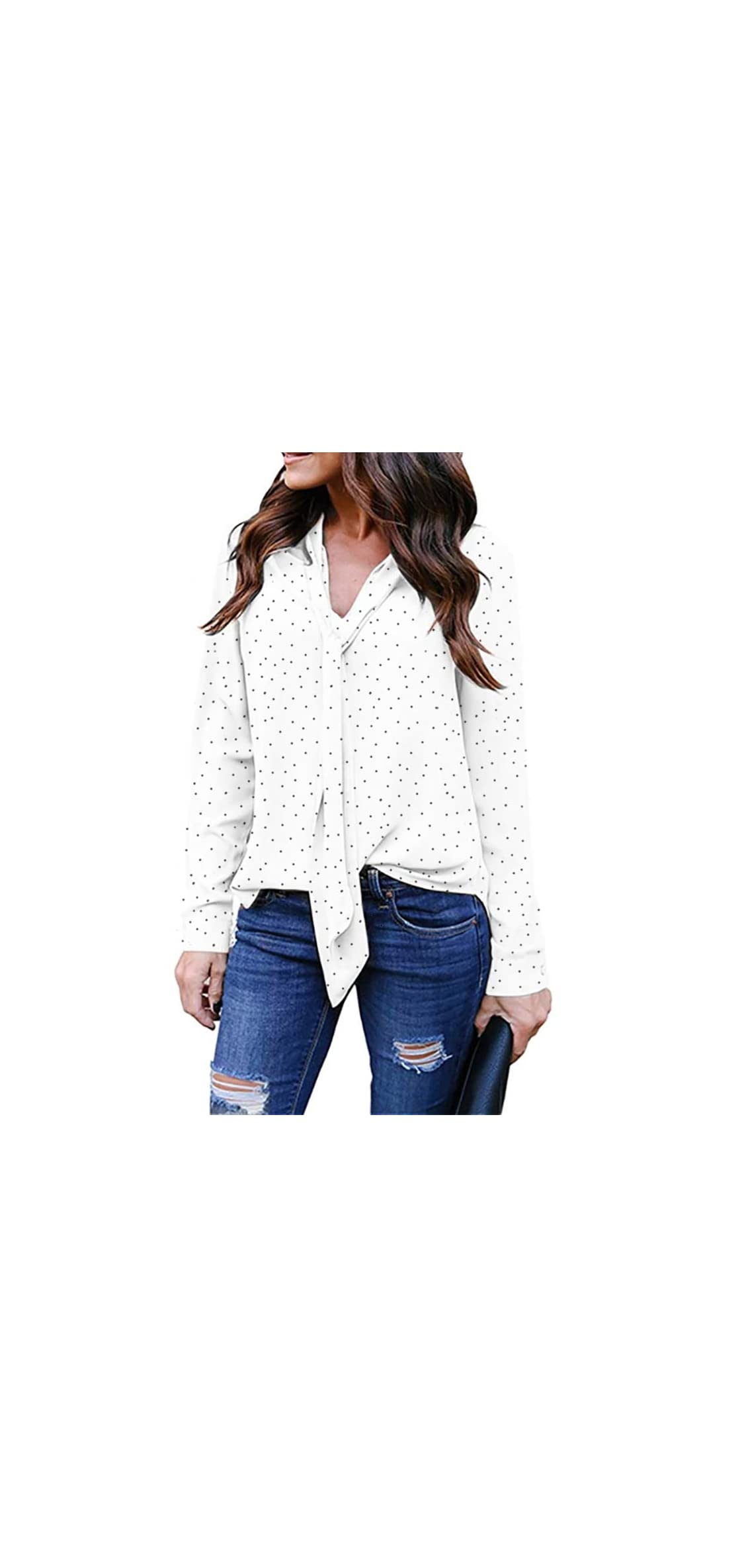Women's Casual Polka Dot Roll Tab Long Sleeve Blouse Top