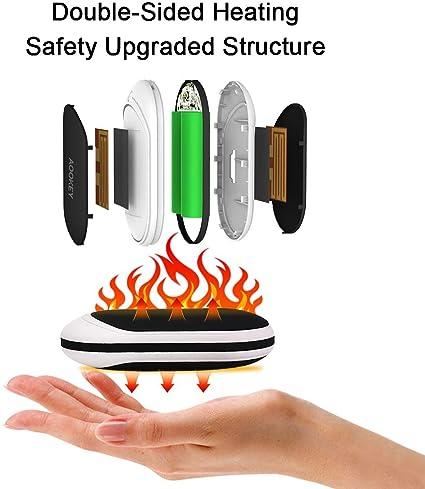 TLICLXY Chauffe-mains de charge 10 000 mAh 4 en 1 USB Rechargeable avec vibration Massage LED Lampe de poche double face 5S Chauffe rapidement les mains