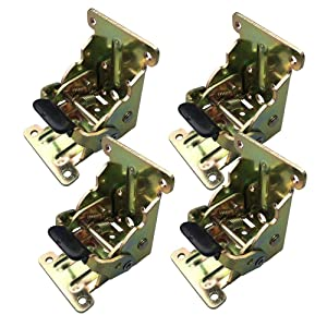 Hoowen - Foldable Support Bracket-Self-Locking Hinge - Leg Fittings and Corner Brace- for Folding Legs,Workbench,Down Desk Extension in Kitchen,Laundry Room Garage,Boat and RV,Pack of 4 (Brass)