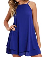 MEIYING Women's Back V Neck Sexy Sling Loose Mini Dress Casual Dresses Sexy Mini Dress