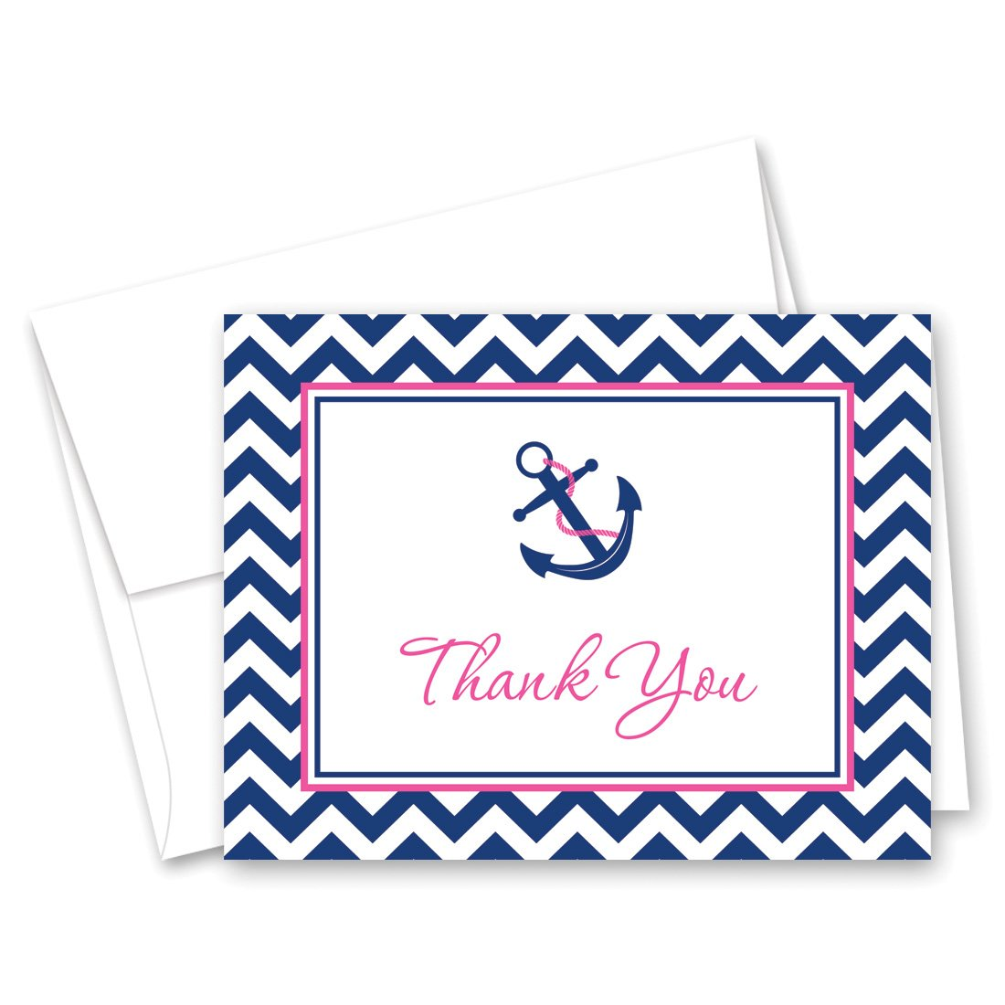 50 Nautical Thank You Cards (Pink & Navy)