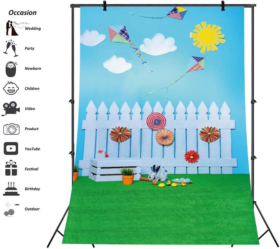 8x12ft Cartoon Happy Easter Backdrop Wedding Backdrops Valentines Backdrop Seamless Happy Birthday Lawn Fence Photography Backdrops Floral Photo Booth Background Video Studio Props