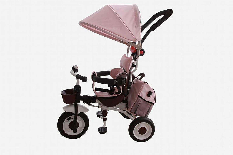 JINHH Triciclo Bebé,Plegable Triciclo Evolutivo 4 En 1 Trike Bicicleta para Bebe Nino (1-6 año) con Mango y Cubierta de Lluvia, función Silla de Pa, Blue