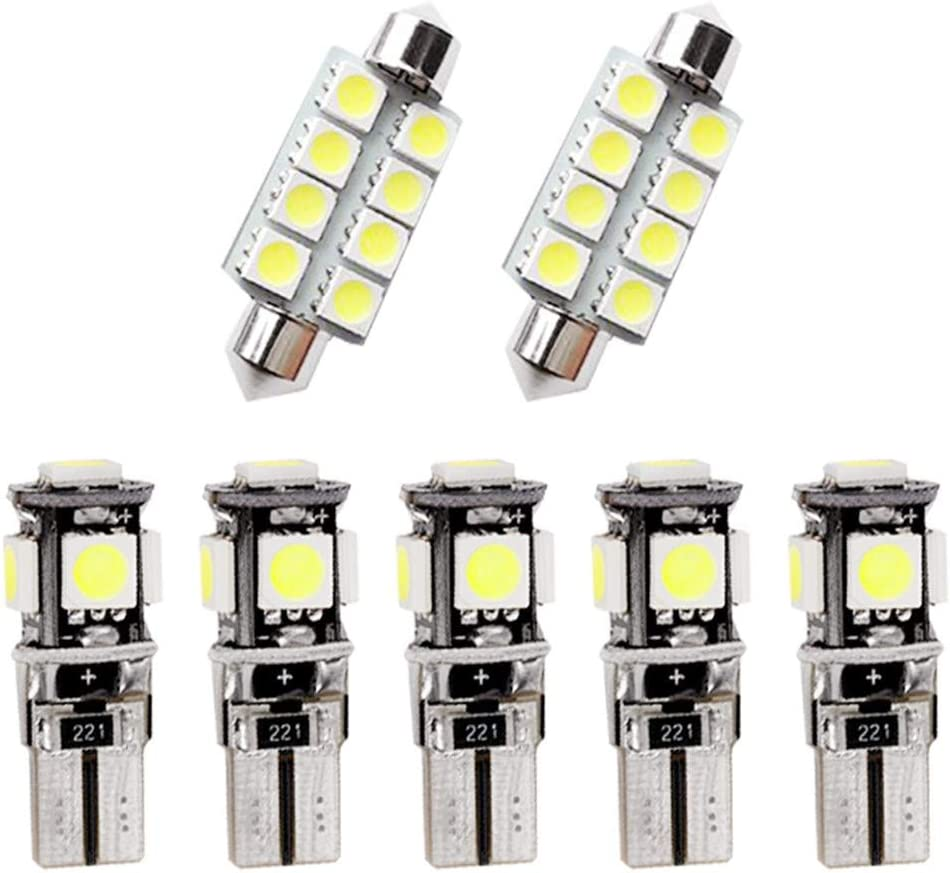 Para A1 A4 LED Bombilla Luz Interior de Coche Super brillante Luces lectura coche Dome Bombilla Canbus sin errores 12V Blanco 7 Piezas