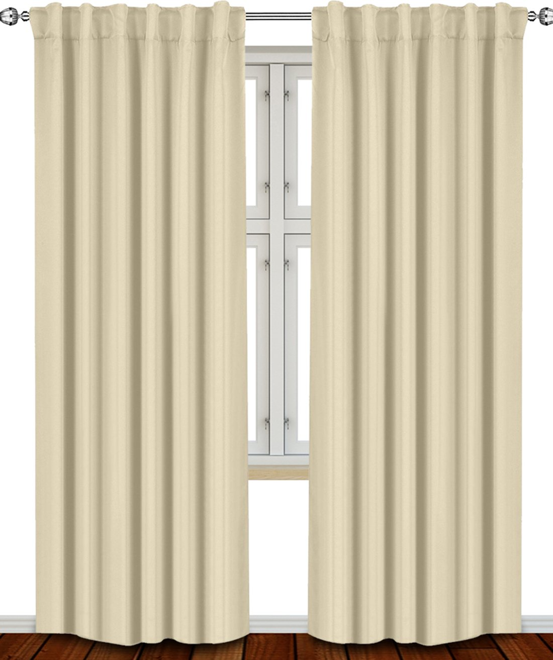 Thermal Insulated Blackout Curtains Beige, 2 Panels