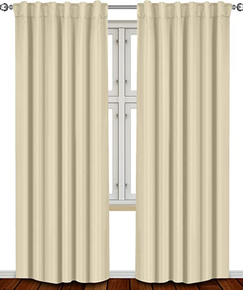 Amazon.com: Thermal Insulated Blackout Curtains Beige, 2 Panels ...