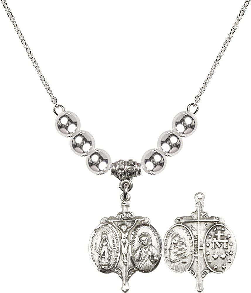 18-Inch Rhodium Plated Necklace with 6mm Sterling Silver Beads and Sterling Silver Novena Charm.