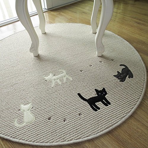MZPRIDE Cute Little Cat Print Korean Table Mat Kids Area Rug Round Rugs