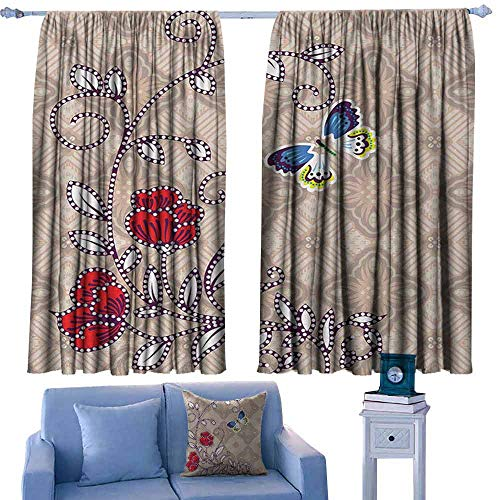 Mannwarehouse Batik Classical Curtain Flower Body with Curved Branch and Butterflies on Retro Background Graphic Print Set of Two Panels 72