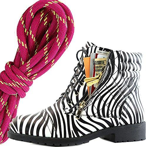 Dailyshoes Donna Militare Allacciatura Fibbia Stivali Da Combattimento Caviglia Alta Esclusiva Tasca Per Carte Di Credito, Hot Pink Lime Zebra Pu