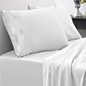 1800 Thread Count Sheet Set – Soft Egyptian Quality Brushed Microfiber Hypoallergenic Sheets – Luxury Bedding Set with Flat Sheet, Fitted Sheet, 2 Pillow Cases, Full, White