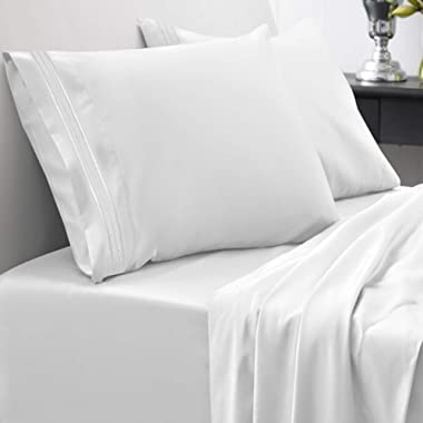 1800 Thread Count Sheet Set – Soft Egyptian Quality Brushed Microfiber Hypoallergenic Sheets – Luxury Bedding Set with Flat Sheet, Fitted Sheet, 2 Pillow Cases, Queen, White