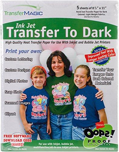Transfer Magic FXTD-5 Ink Jet Transfer Paper for Dark Fabric (5 Pack), 8.5