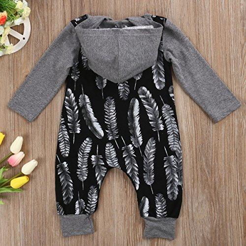 Newborn Baby Boys Girls Long Sleeve Hoodie Romper Full Feathers Print Splice Harem Jumpsuit (6-12M, Grey)