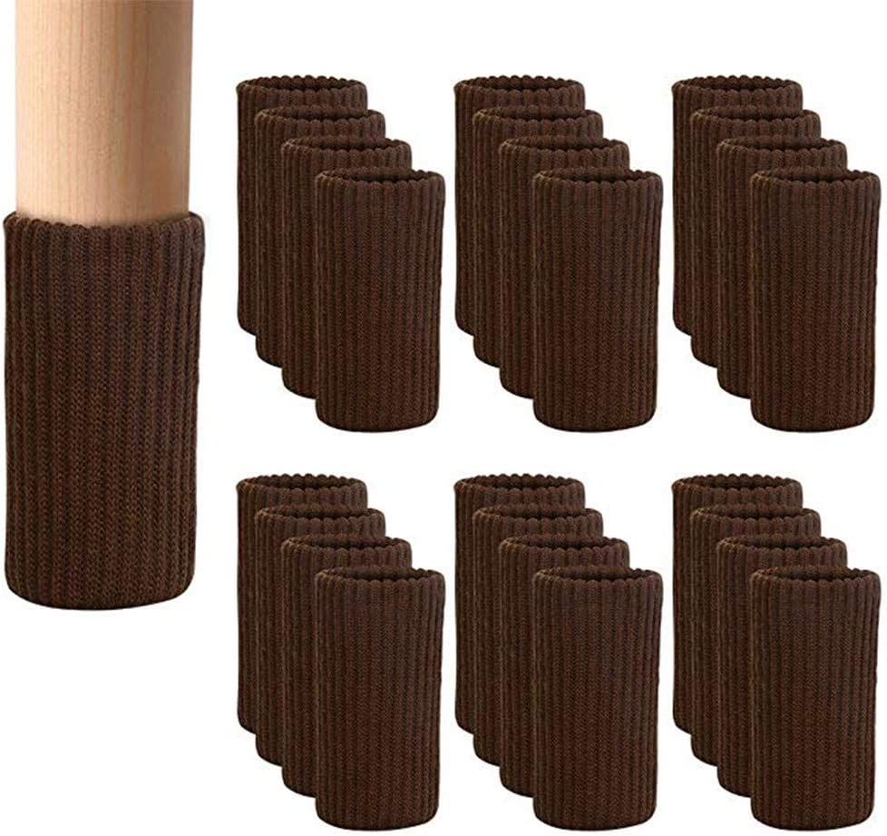 24 PCS Chair Leg Socks Knitted Elastic Furniture Leg Socks - Chair Leg Floor Protectors for Avoid Scratches - Coffee Furniture Booties Covers for Moving Easily and Reduce Noise