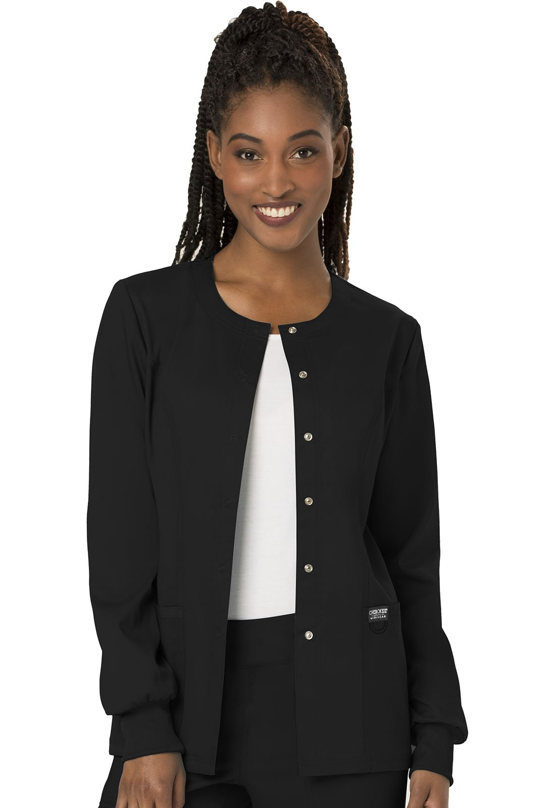 WW Revolution by Cherokee Women's Snap Front Warm-up Jacket, Black, M by WW Revolution by Cherokee