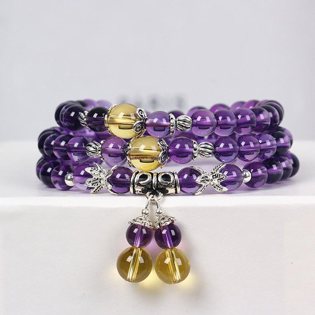 OMZBM Natural Crystal Bracelet Amethyst Gemstone Healing