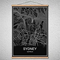 Can Be Customized MECCA Modern Poster World City map Scroll Oil Painting Canvas Abstract Print Picture Cafe Bar with Frame : Sydney, 60x90cm no Frame