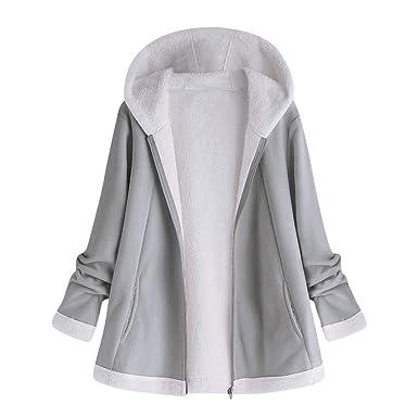 Hatoys Womens Fashion Winter Pocket Zipper Long Sleeve Plush Hoodie Coat(Medium,Gray)