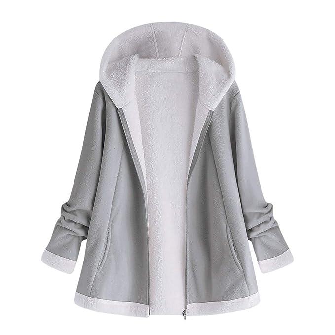 VICGREY Moda Cappotto Donna Cappuccio Taglie Forti Invernale