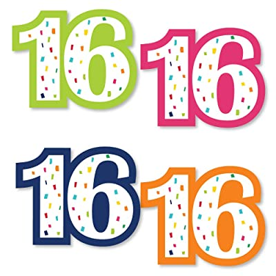 Big Dot of Happiness 16th Birthday - Cheerful Happy Birthday - DIY Shaped Colorful Sweet Sixteen Birthday Party Cut-Outs - 24 Count: Toys & Games