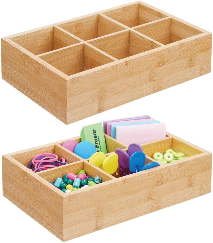 mDesign Bamboo Wood Compact Home Office Storage Organizer Bin Box - 6 Divided Sections - Holder for Notebooks, Paperclips, Binder Clips, Tape, Stapler, 2 Pack - Natural/Tan