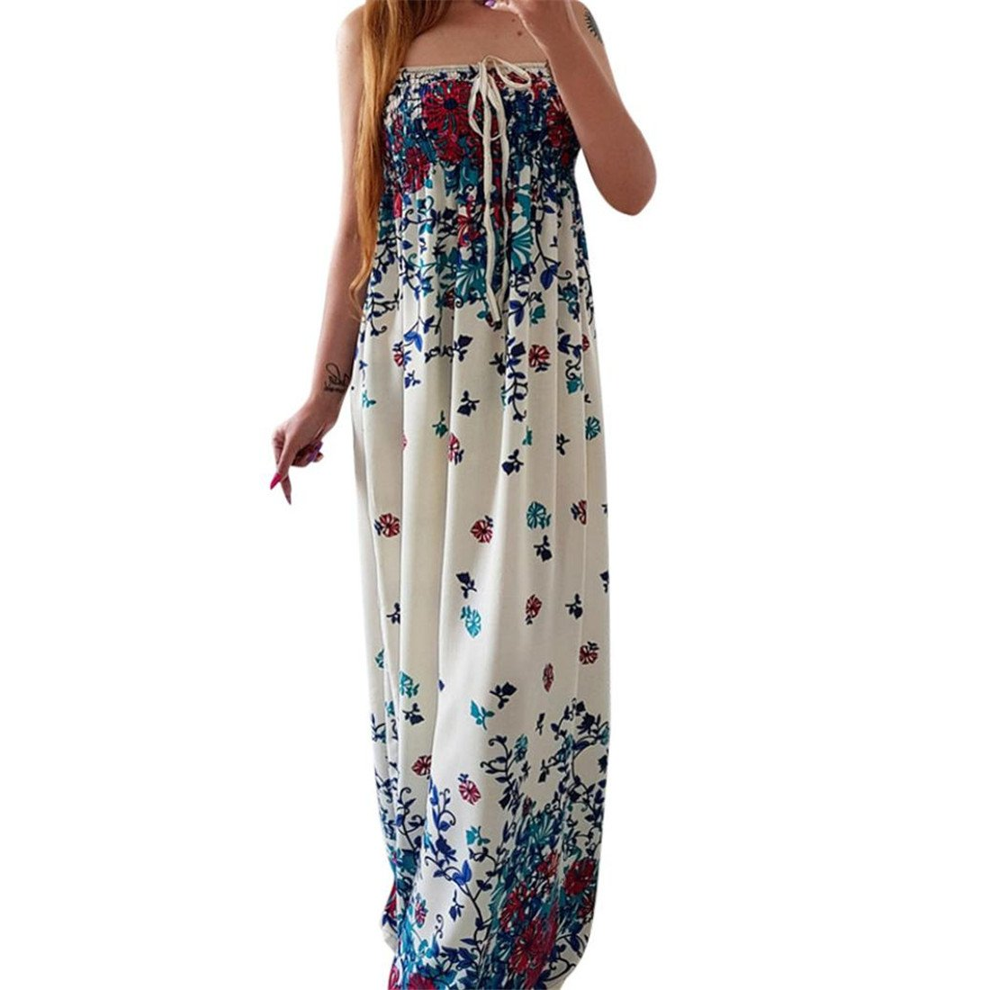 Womens Dresses,Womens Dresses Summer,Womens Dresses Elegant,Womens Dress Casual,Moonuy,Girl Ladies Off Shoulder Floral Printed Lace-up Sleeveless Maxi Long ...