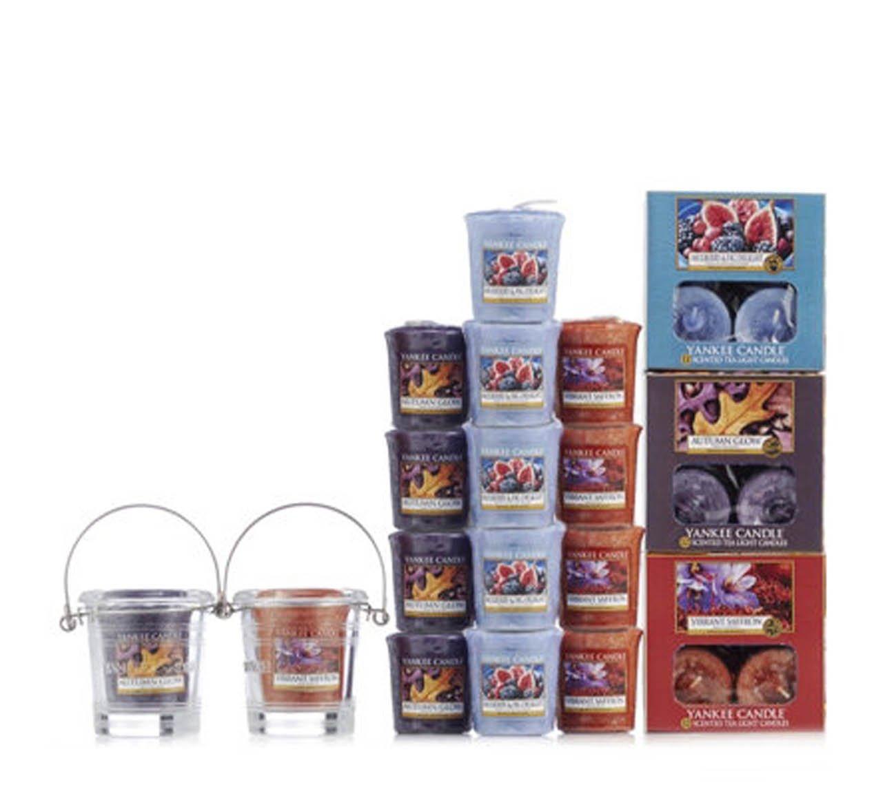 Yankee Candleoriginale, 53candeline con vibranti profumi floreali, set con vasetti votivi e porta candele My Planet