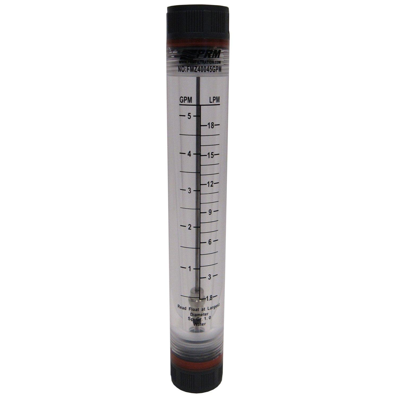PRM 1-5 GPM ROTAMETER WATER FLOW METER 1/2 INCH FNPT CONNECTOR FMZ40045GPM