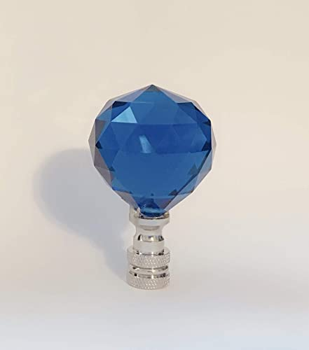 Set of 2 Lead Glass Crystal Lamp Shade Finials, Harp Topper – 40 mm Blue