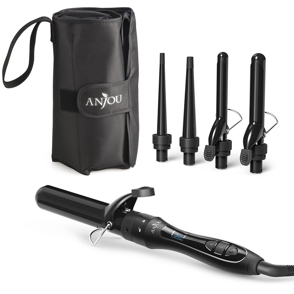 Anjou 5 in 1 Curling Wand Set with 5 Interchangeable Barrels, Curling Iron Set with Tourmaline Ceramic Coating (Adjustable Temperature 250°F - 410°F, Heat Resistant Glove & Travel Bag) AJ-HC003 US