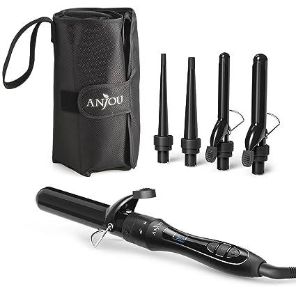 Rizador de pelo, Anjou 5 en 1 Multi función intercambiable rulos Kit (