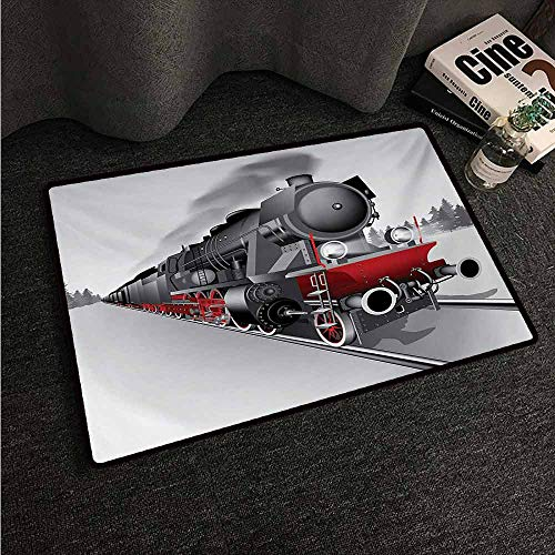 - HCCJLCKS Interior Door mat Steam Engine Locomotive Red Black Train on Steel Railway Track Travel Adventure Graphic Print Easy to Clean Carpet W24 xL35 Red Grey