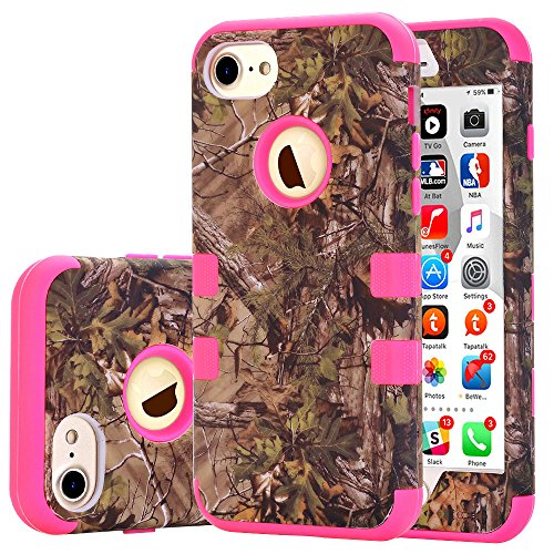 iPhone 7 Case, JDBRUIAN [3in1 Shield Series] Heavy Duty Hybrid Hard PC Soft Silicone Combo Hybrid Defender High Impact Body Armor box Case for Apple iPhone 7 - Forest camouflage Rose