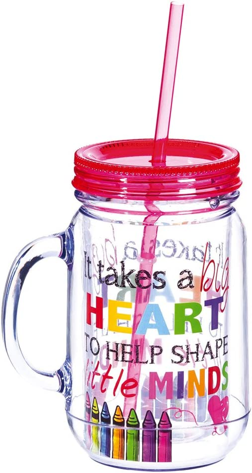 "Cypress Home It Takes A Big Heart To Help Shape Little Minds 20 Oz DoubleWall Acrylic Insulated Mason Jar With Straw Teacher Appreciation Gift 3.5"" x 5"" x 6.25"""