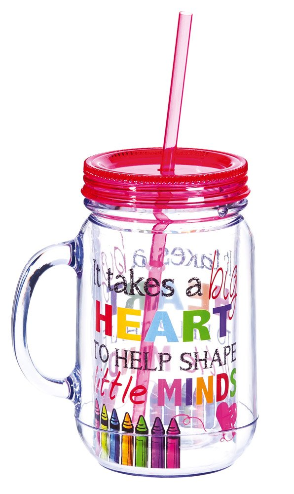 """Cypress Home It Takes a Big Heart to Help Shape Little Minds 20 oz. Double-Wall Acrylic Insulated Mason Jar Tumbler with Straw -Teacher Beverage Holder - Perfect for an On-the-Go Lifestyle - 3.5""""W x 5""""D x 6.25""""H"""