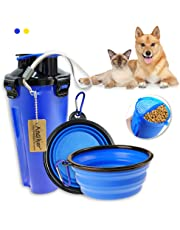 Andiker Pet Water Bottle, Portable Travel Dog Food Container and Dog Water Bottle 2 in 1 Leak Proof Cup with 2 Collapsible Dog Bowls for Outdoor Walking Travelling Hiking Camping (Blue)