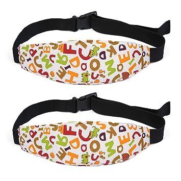 ZobiDobi Toddler Car Seat Head Support Strap Infants and Baby Car Seat Neck Relief Head Band Safety Stroller Adjustable Head Holder Sleep Belt /2 Pcs