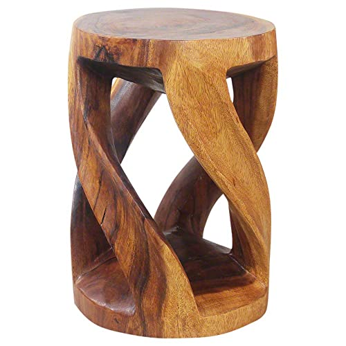 Haussmann Round Wild Twisted Vine Wood End Table 14 D x 20 in H Livos Walnut Oil