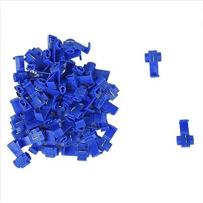 TOOGOO(R) Terminales de cables 50pcs rapida Splice Conectores Lock Crimp electrica electrica - Azul