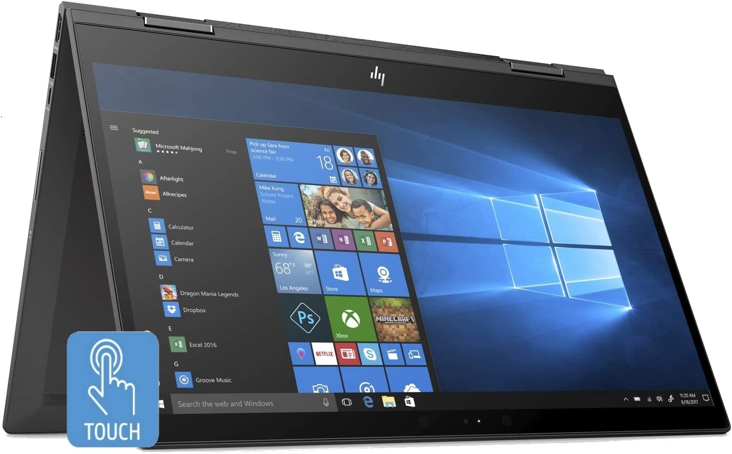 HP Envy x360 15.6-in Full HD Touchscreen AMD Ryzen 5 8GB 256GB SSD 2-in 1 Convertible Laptop (Renewed)