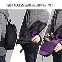 Qipi Camera Bag - Sling Bag Style Camera Backpack with Waterproof Rain Cover - for DSLR & Mirrorless Cameras (Nikon, Canon, Sony) - Black from Qipi