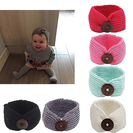31f72bf87fb7 Amazon.com  G-Tree 6 Pack Baby Girl Headbands Knit Crochet Turban ...