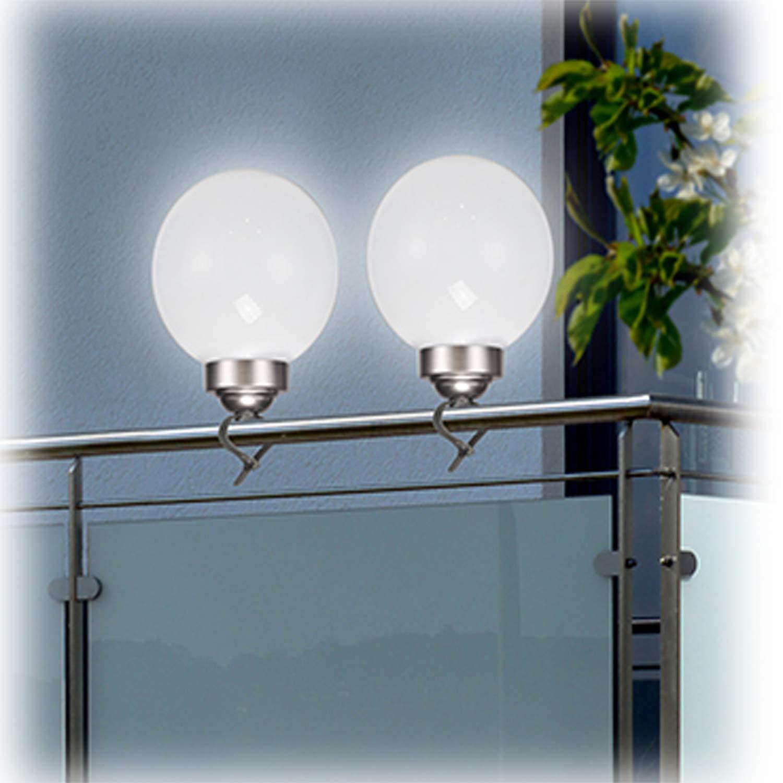 Mojawo 2 Pezzi Lampada Solare LED a Sfera /Ø 20 cm Lampada da Giardino Esterno Lampada Solare Lampada da Esterno Bianco//Argento