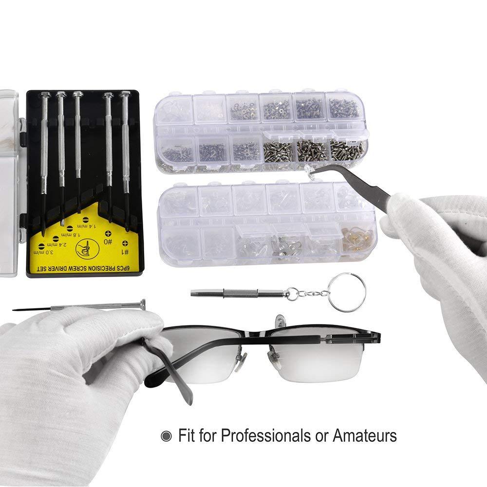 Noblik Brillen Reparatur Set Brillen Sonnen Brillen Reparatur Set Mit 1100 St/ück Brille Schrauben Sortiment Zubeh?r