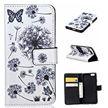 iPhone 6 Case, iPhone 6S Case,iPhone 6/6S Wallet Case Jenny Shop [Dandelion] Flip Wallet Pu Leather Cover with Credit Card Slots Cash Pocket Stand Function with Wrist Strap Sleeve (Colorful Dandelion)