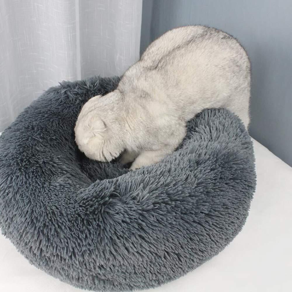 Rosa//Bianco//Grigio Chiaro//Grigio Scuro 40//50//60//70CM Blusea Cuccia per Gatti Letto per Cani Gatto Rotondo Grande Letto Peluche Ultra-Morbido da Interno Animale Domestico